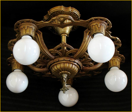 Le Five Light Ceiling Fixture 1920s Description Intricately Cast Bulb